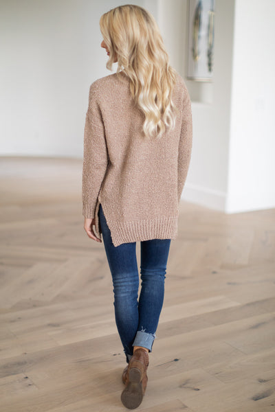 For Love & Lattes Sweater - Camel super soft textured women's ribbed pullover, closet candy boutique 4