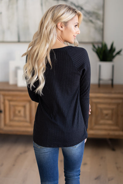 She's Going Laces Long Sleeve Top - Black v-neck shirt with lace trim details, fall outfit, closet candy boutique 5