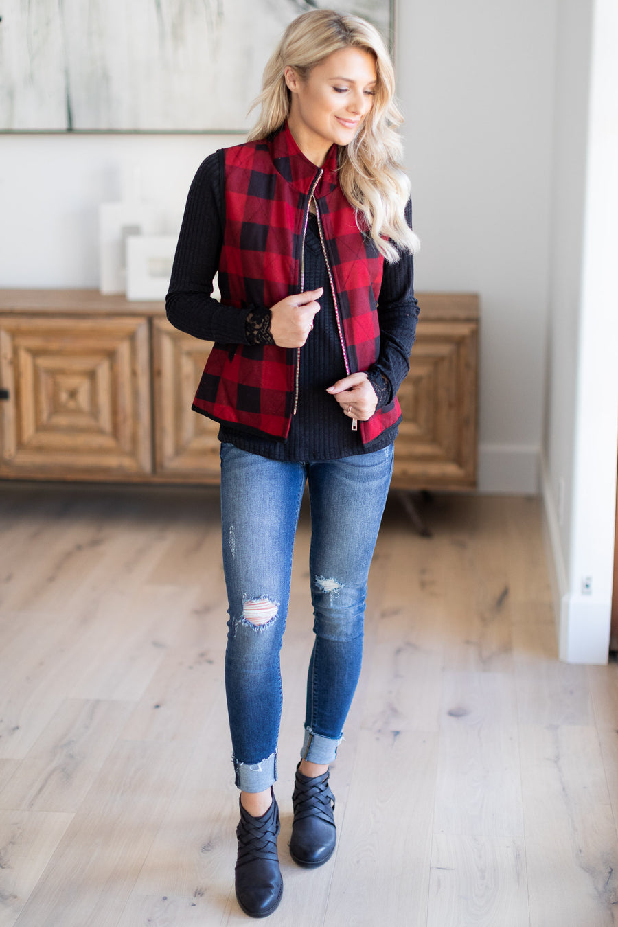 On The Right Path Plaid Vest - Red & Black checkered plaid comfy zipper vest, closet candy boutique 1