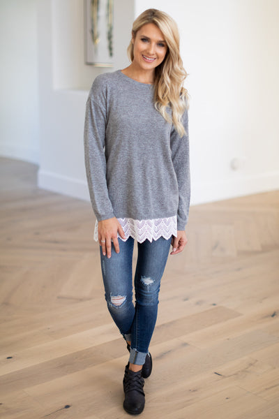 Timeless Moments Lace Hem Top - Heather Grey women's long sleeve lace hem top, Closet Candy Boutique 3