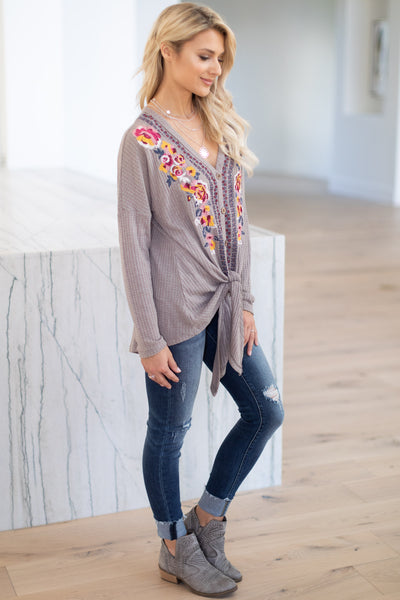 Stir My Heart Embroidered Top - Mocha women's long sleeve blouse with colorful floral embroidery detail, front-tie, closet candy boutique 2