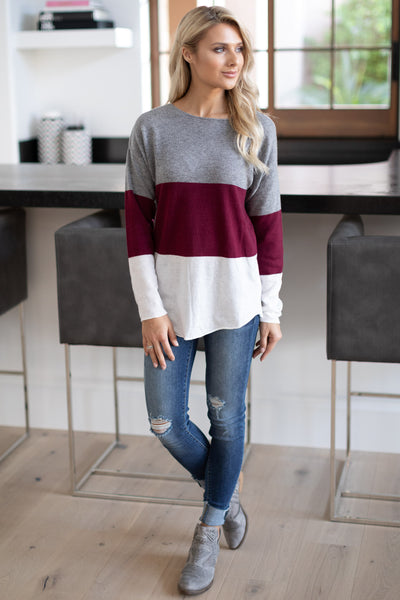 Relaxing In Style Color Block Top - Burgundy, grey, ivory colorblock long sleeve, closet candy boutique 2