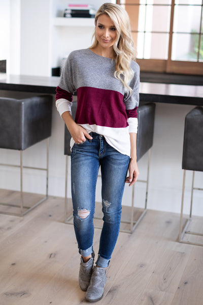 Relaxing In Style Color Block Top - Burgundy, grey, ivory colorblock long sleeve, closet candy boutique 1