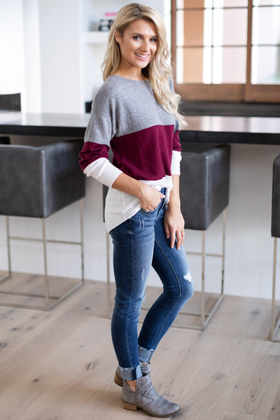 Relaxing In Style Color Block Top - Burgundy, grey, ivory colorblock long sleeve, closet candy boutique 3