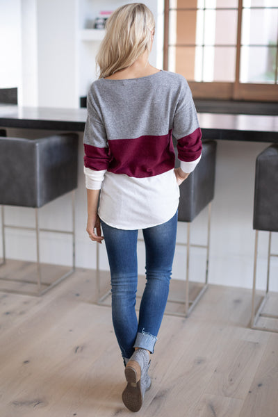 Relaxing In Style Color Block Top - Burgundy, grey, ivory colorblock long sleeve, closet candy boutique 4