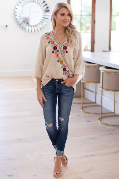 Hello Beautiful Floral Blouse - Taupe surplice embroidered top with ruffled sleeves, closet candy boutique 2