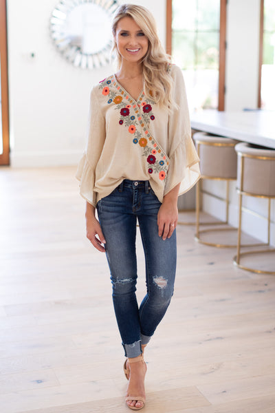 Hello Beautiful Floral Blouse - Taupe surplice embroidered top with ruffled sleeves, closet candy boutique 1