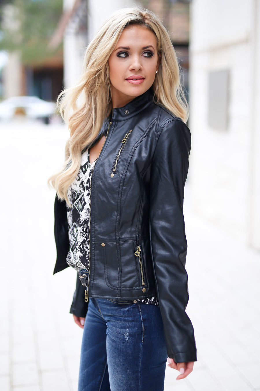 Ready For Take Off Jacket - Black women's leather jacket, zipper, pockets, Closet Candy Boutique 1