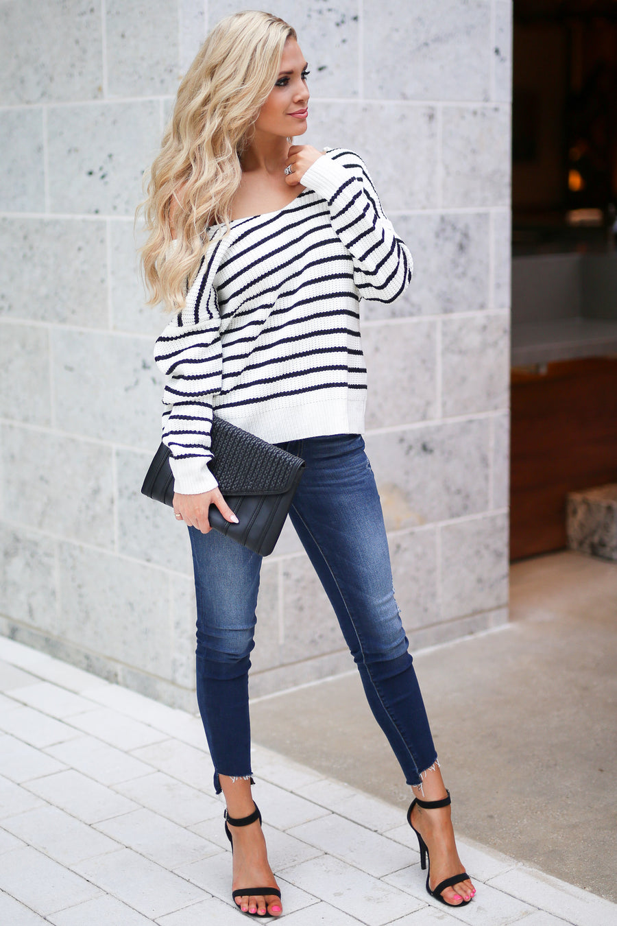In Perfect Harmony Sweater - Black and white striped women's flirty twist back sweater closet candy boutique 1