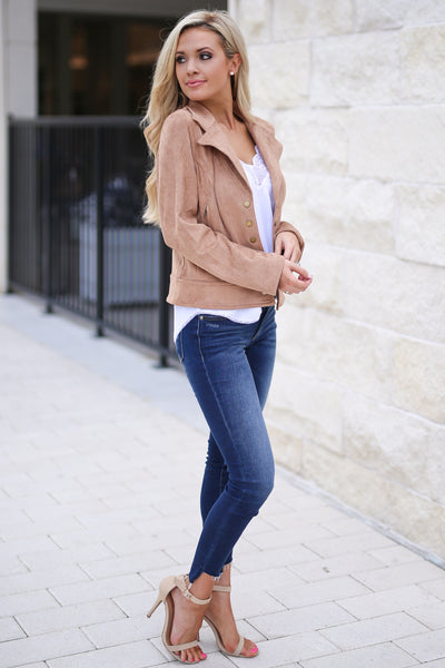 Off The Runway Vegan Suede Jacket- Taupe button closure suede jacket closet candy boutique 2