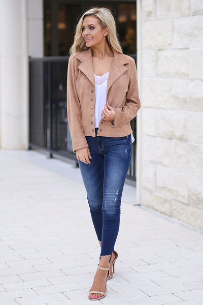 Off The Runway Vegan Suede Jacket- Taupe button closure suede jacket closet candy boutique 5
