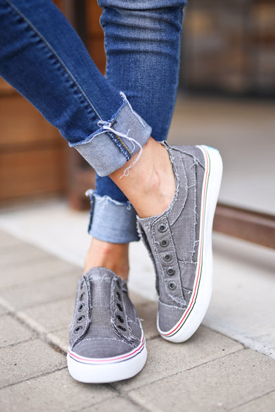Wherever You Wander Sneakers - Steel Grey canvas casual sneakers, no laces, Closet Candy Boutique 1