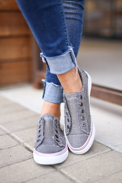 Wherever You Wander Sneakers - Steel Grey canvas casual sneakers, no laces, Closet Candy Boutique 4