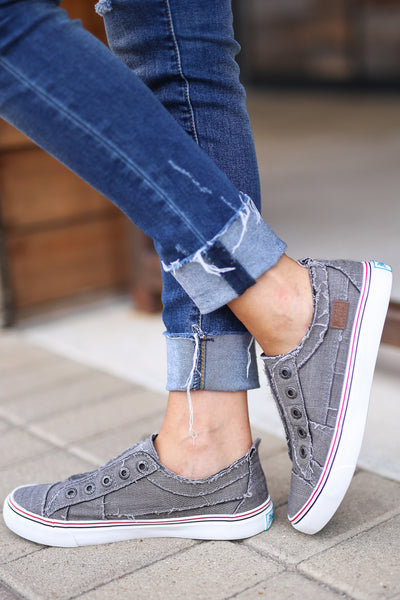 Wherever You Wander Sneakers - Steel Grey canvas casual sneakers, no laces, Closet Candy Boutique 2