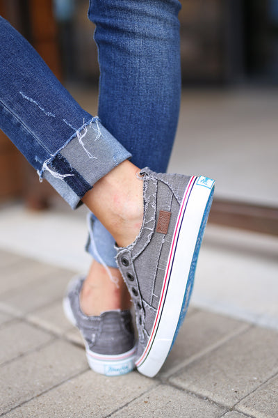 Wherever You Wander Sneakers - Steel Grey canvas casual sneakers, no laces, Closet Candy Boutique 3