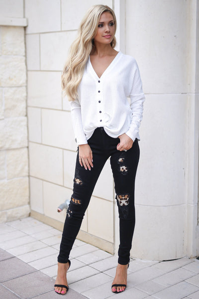 High Standards Front Tie Top - Ivory trendy women's long sleeve button up top, cute front tie, fabulous for fall, closet candy boutique 6