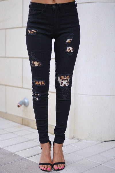 JUDY BLUE Queen Of The Jungle Distressed Jeans - Black skinny jeans with leopard patches, closet candy boutique 5