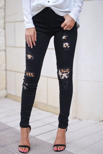 JUDY BLUE Queen Of The Jungle Distressed Jeans - Black skinny jeans with leopard patches, closet candy boutique 1