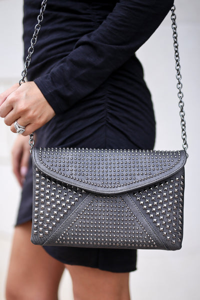 Make My Day Studded Purse - Charcoal studded envelope crossbody purse, Closet Candy Boutique 1