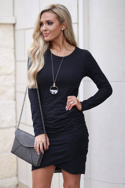 Nothing Better Long Sleeve Dress - Black women's trendy ruched round neckline fitted dress, best seller, Closet Candy Boutique 1