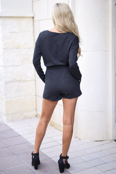 Out After Midnight Romper - Black long sleeve, textured romper with pockets, tie belt at waist, closet candy boutique 3