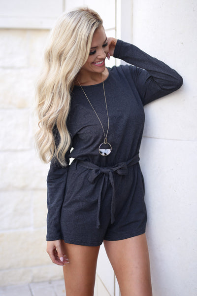 Out After Midnight Romper - Black long sleeve, textured romper with pockets, tie belt at waist, closet candy boutique 4