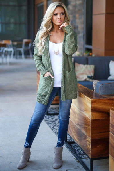 Time To Chill Knit Cardigan - Olive cozy knit open-front sweater, closet candy boutique 2