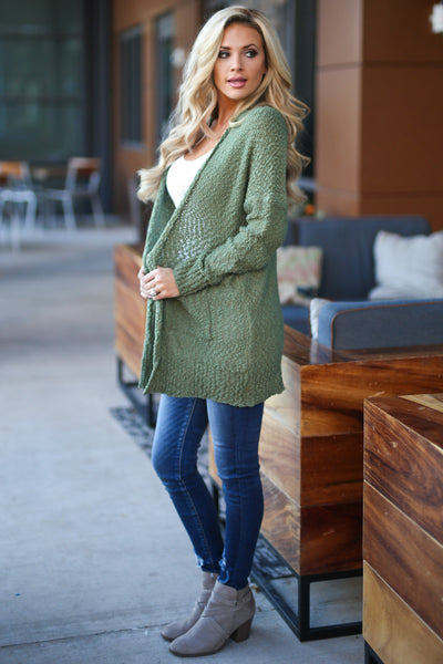 Time To Chill Knit Cardigan - Olive cozy knit open-front sweater, closet candy boutique 4