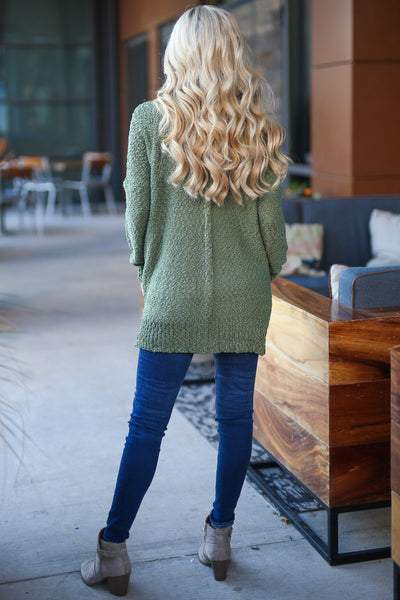 Time To Chill Knit Cardigan - Olive cozy knit open-front sweater, closet candy boutique 5