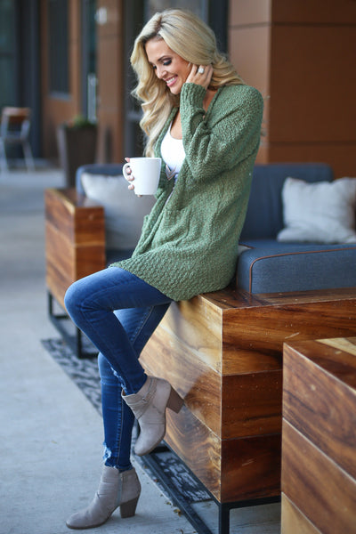Time To Chill Knit Cardigan - Olive cozy knit open-front sweater, closet candy boutique 3