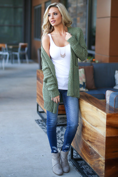 Time To Chill Knit Cardigan - Olive cozy knit open-front sweater, closet candy boutique 6