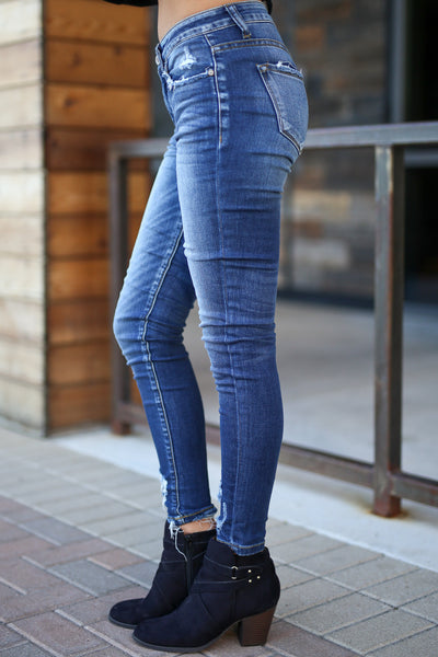 KAN CAN Distressed Skinny Jeans - Alayah Wash, medium fade, distressing at pockets, ankles, closet candy boutique 2