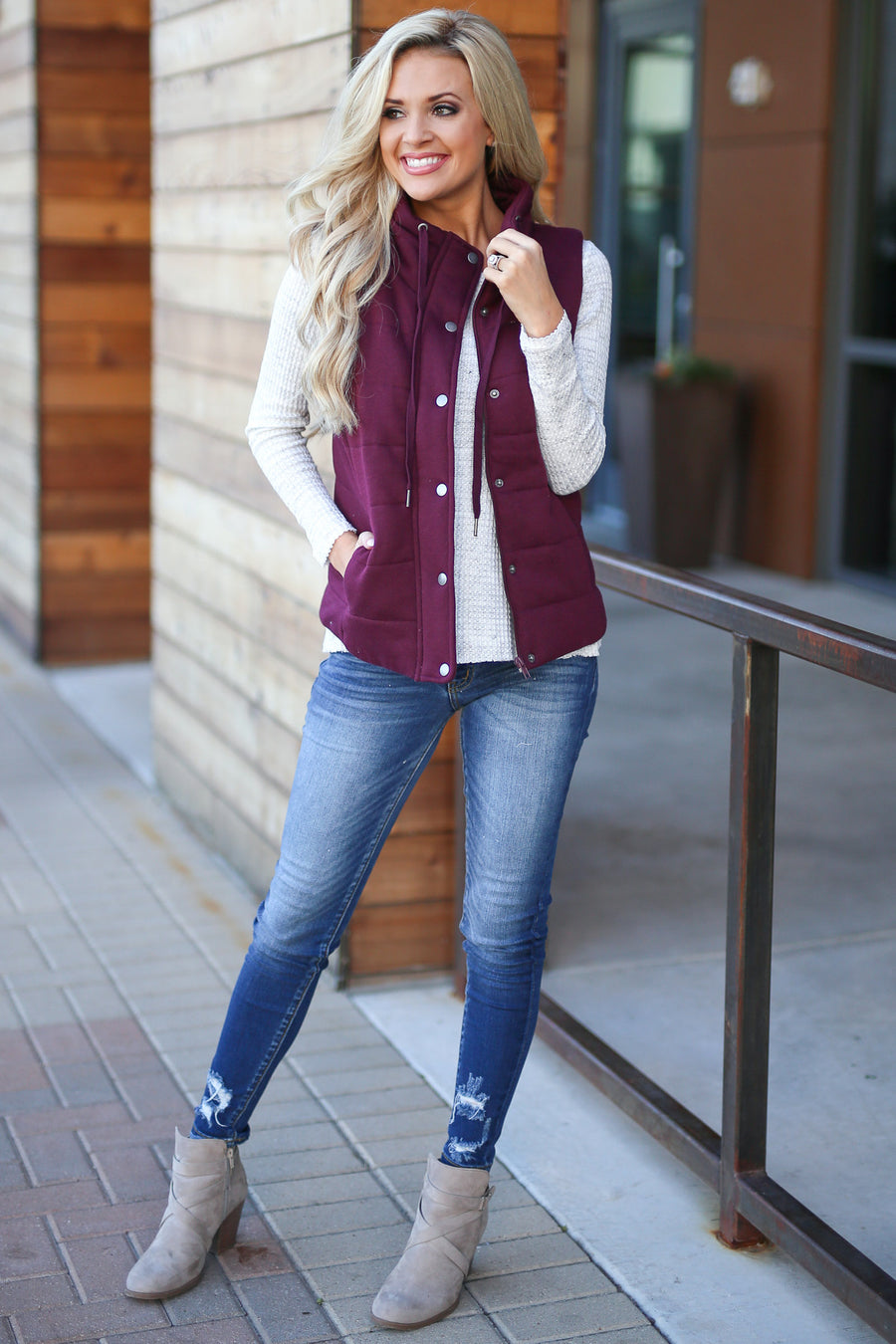 Ready For Adventure Vest - Burgundy women's quilted high neck vest with pockets closet candy boutique 1