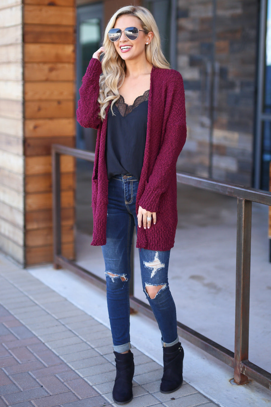 Time To Chill Knit Cardigan - Burgundy cozy knit open-front sweater, closet candy boutique 1