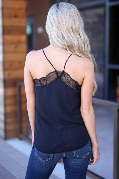 LOVE STITCH Slice Of Heaven Cami - Black camisole, lace trim, pretty little details, closet candy boutique 4