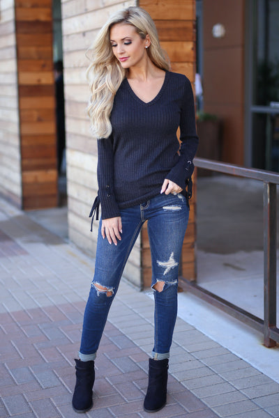 A New Flame Top - Black women's long sleeve top with lace-up detail at sleeves, closet candy boutique 1