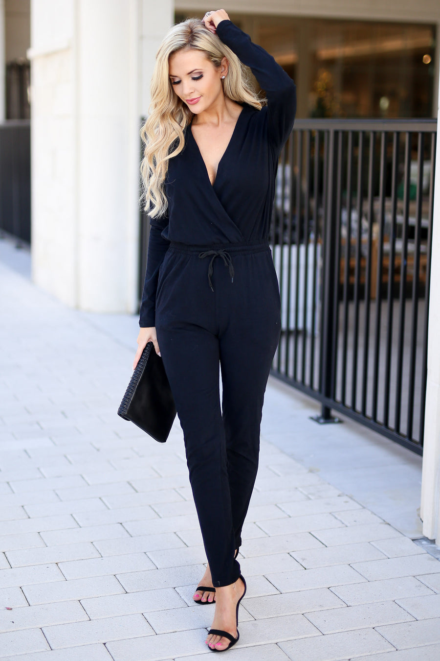 Building Empires Jumpsuit - Black long sleeve V-neck jumpsuit, elastic waistband, boss babe outfit, closet candy boutique 2