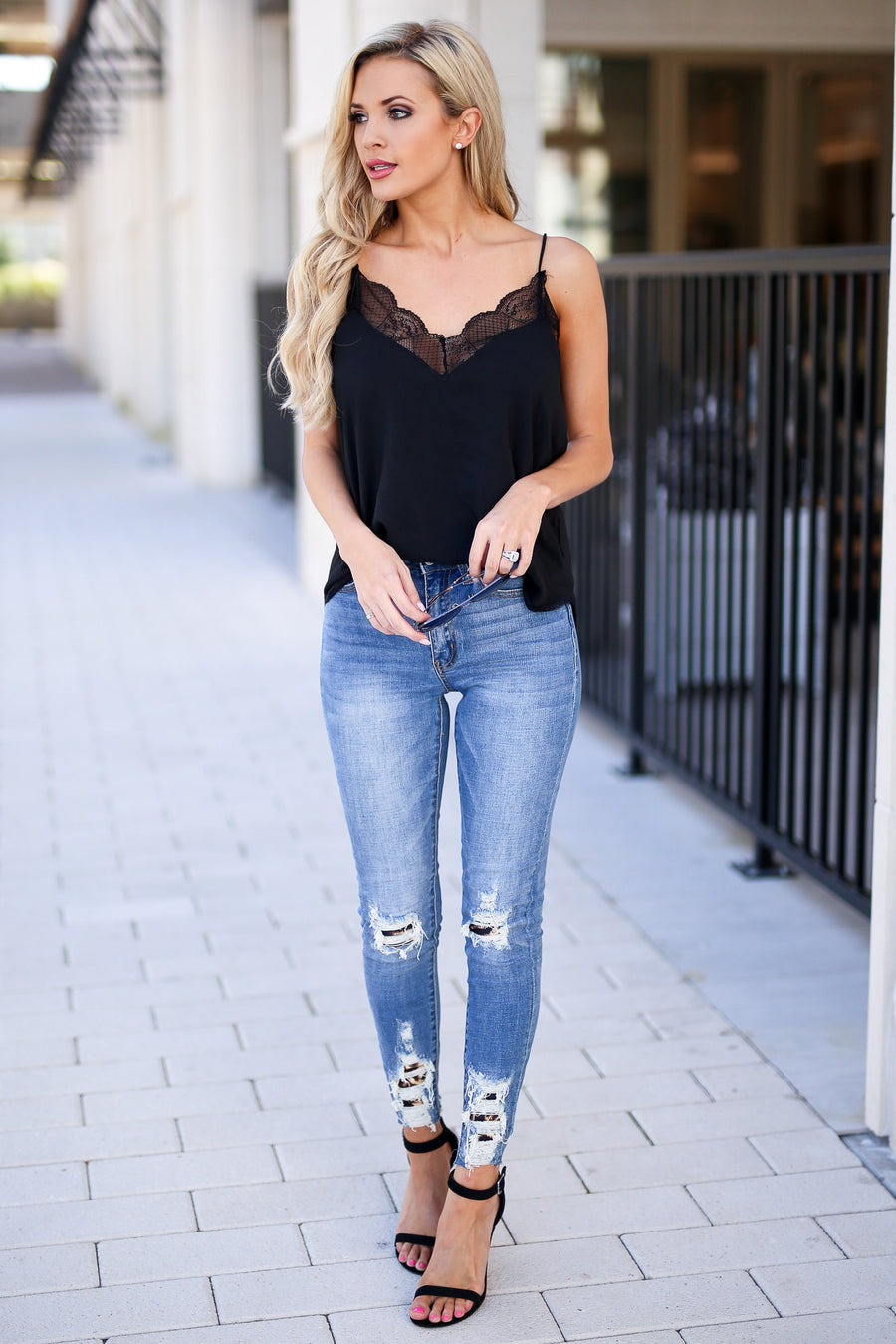 KAN CAN Let's Talk Leopard Skinny Jeans - Medium Wash distressed raw hem jeans, leopard patches, closet candy boutique 3