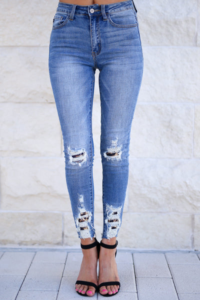 KAN CAN Let's Talk Leopard Skinny Jeans - Medium Wash distressed raw hem jeans, leopard patches, closet candy boutique 1