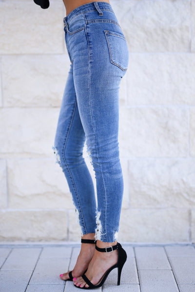 KAN CAN Let's Talk Leopard Skinny Jeans - Medium Wash distressed raw hem jeans, leopard patches, closet candy boutique 4