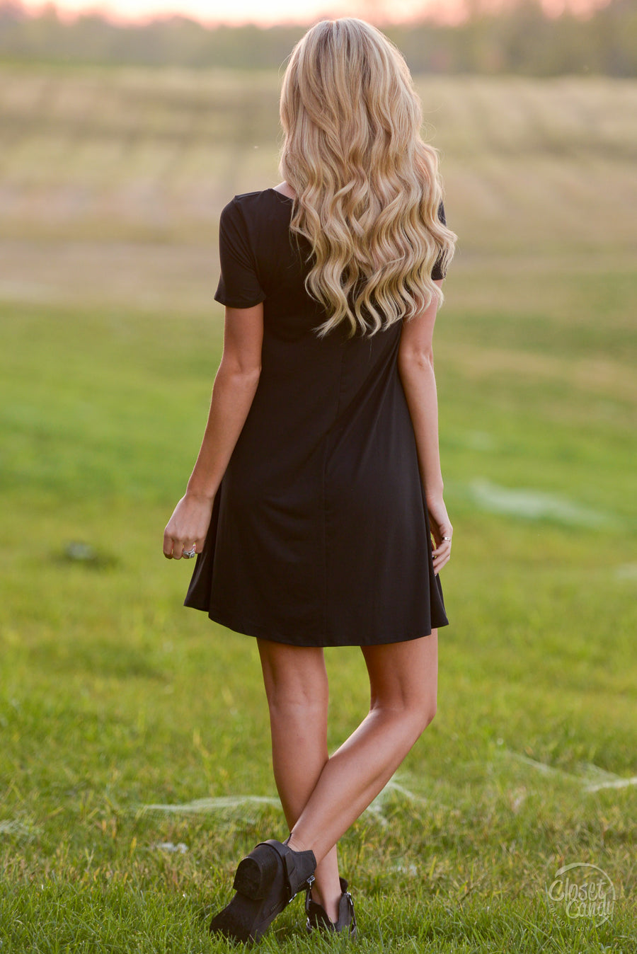 Under the Moonlight Glow Dress - Black caged neckline dress, front, Closet Candy Boutique