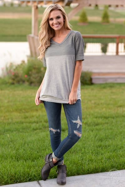 Level Up Ombre Top - Cute charcoal v-neck top, front, Closet Candy Boutique