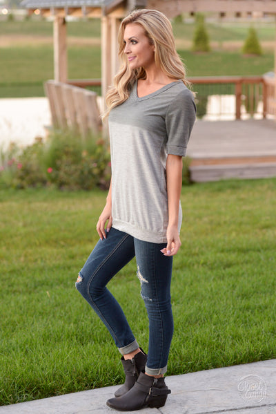 Level Up Ombre Top - Cute charcoal v-neck top, side, Closet Candy Boutique