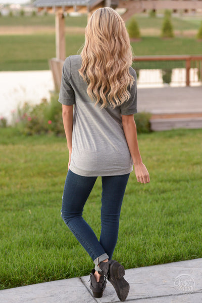 Level Up Ombre Top - Cute charcoal v-neck top, back, Closet Candy Boutique
