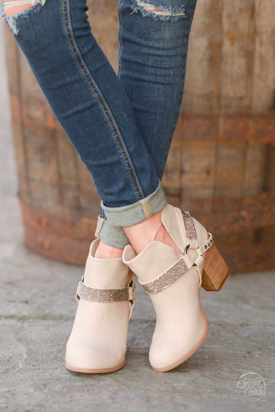 Leave Some Sparkle Booties - Cream sparkle strap booties, side, Closet Candy Boutique