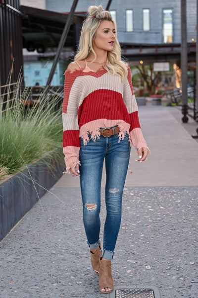 Worth Your Time Frayed Sweater - Rust Multi womens trendy v-neck striped long sleeve frayed detail sweater closet candy front