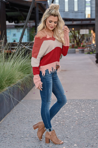 Worth Your Time Frayed Sweater - Rust Multi womens trendy v-neck striped long sleeve frayed detail sweater closet candy side