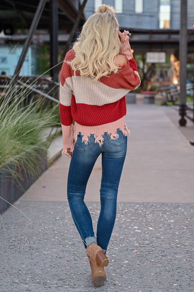 Worth Your Time Frayed Sweater - Rust Multi womens trendy v-neck striped long sleeve frayed detail sweater closet candy back