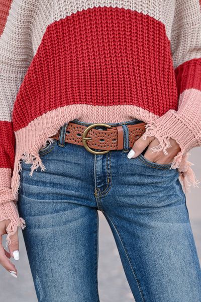 No Time to Waste Belt - Camel womens trendy vegan leather eyelet detail belt closet candy front
