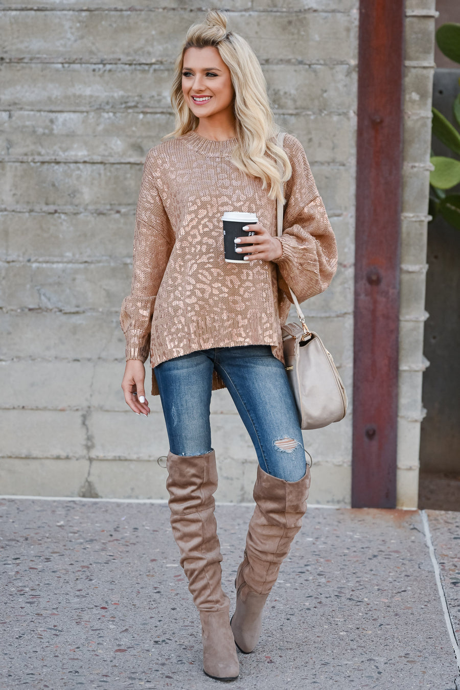 City Lights Metallic Leopard Sweater - Rose Gold womens trendy leopard print long puff sleeve pullover sweater closet candy front